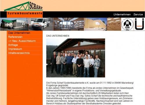 2008 Die Firma Scharf Systembauelemente e.K. im Internet