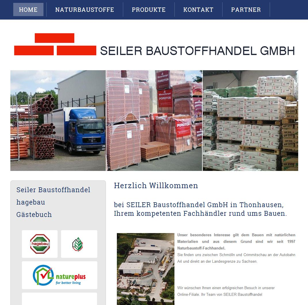 2014  Relaunch Projekt  Seiler Baustoffe GmbH Thüringen
