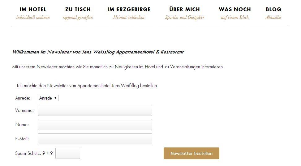 2014 Spamschutz in den Newsletter eingebaut