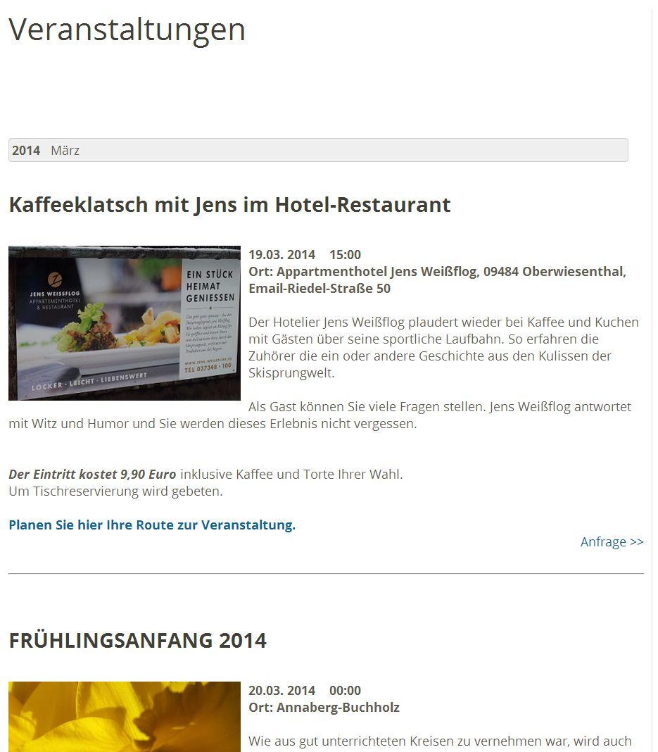 2014 05 Veranstaltungskalender Veranstaltungen Darstellung auf Webseite