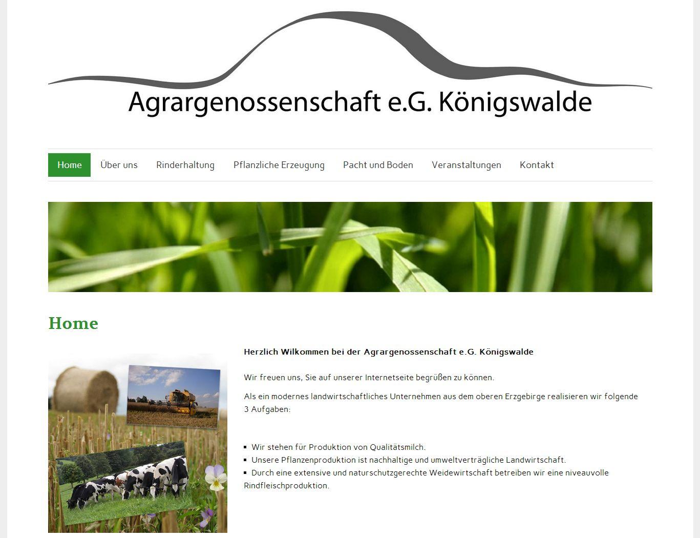 2014 Agrargenossenschaft Koenigswalde Relaunch Erzgebirge