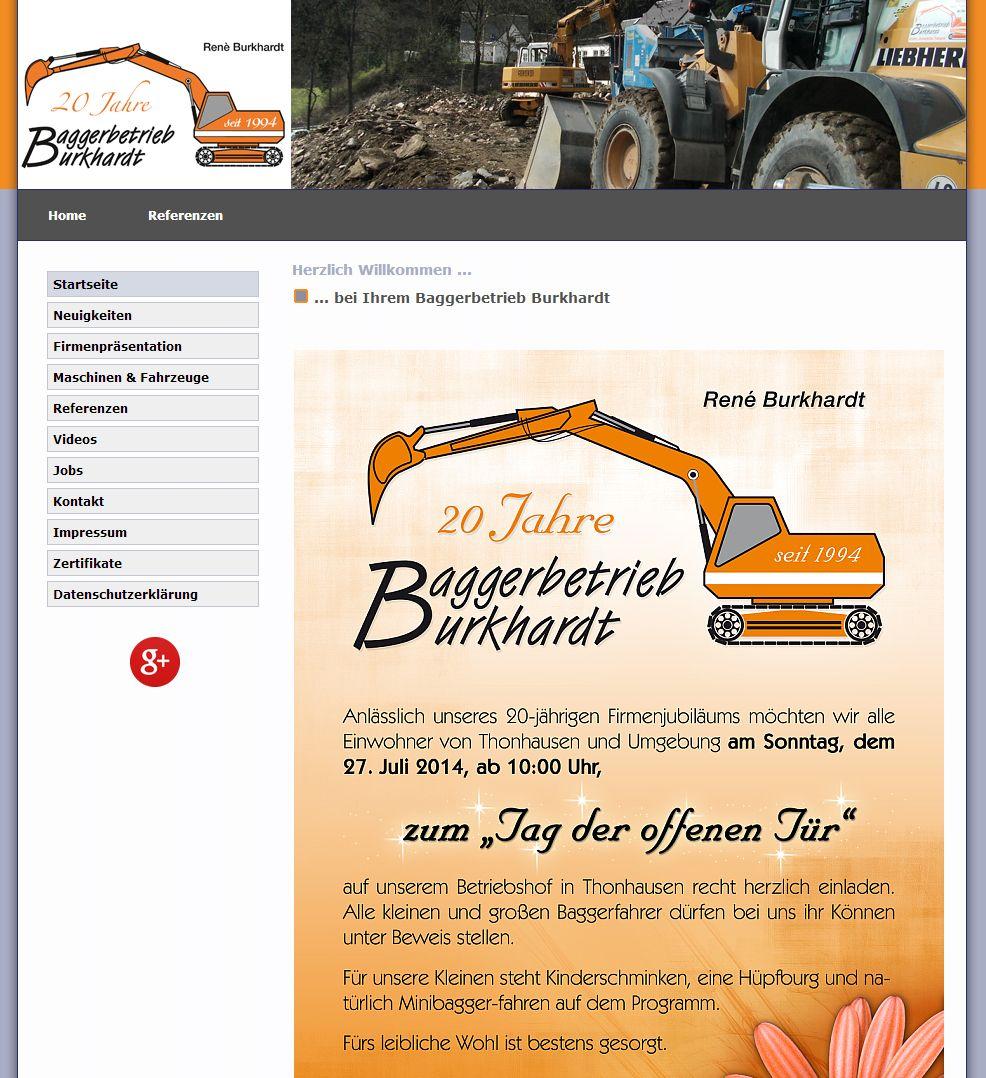 2014 Baggerbetrieb Burkhardt Thonhausen Thüringen Relaunch