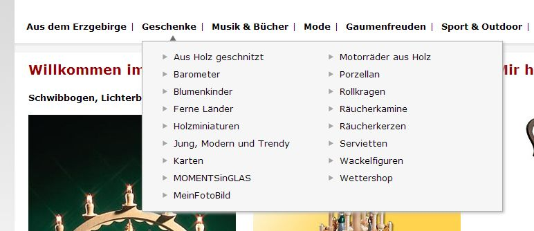 2014 Relaunch Erzgebirgskaufhaus Navigation