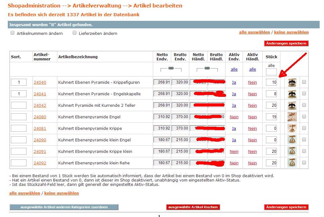 2014 Artikelverwaltung für Stückzahlen im Shopsystem