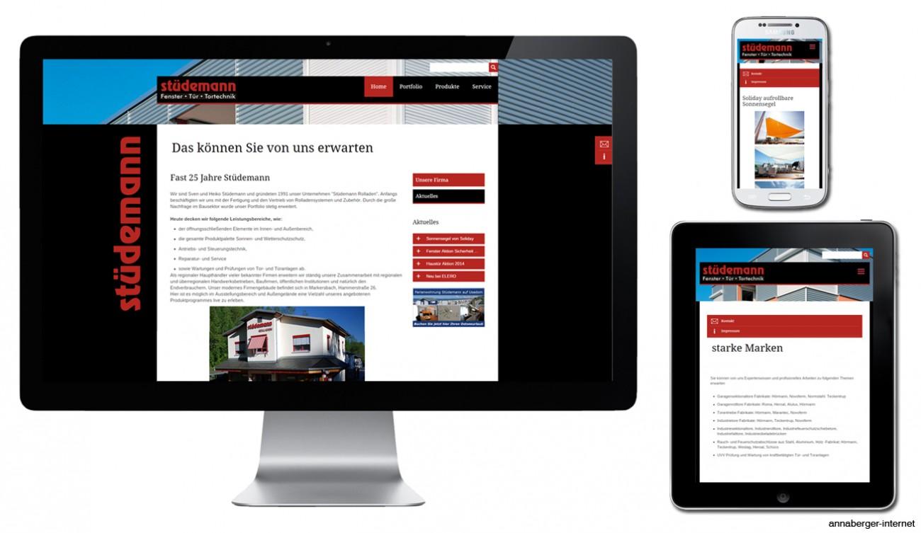 2015 Screens neue mobile Webseite Firma Stuedemann Erzgebirge