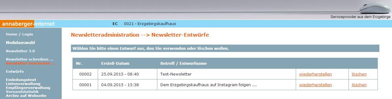 2015 Newsletter Entwurf speichern